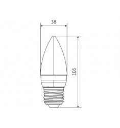 Bec LED General Electric Energy Smart™ lumanare, 6W, E27, 470 lm, 20.000 ore, lumina calda, dimabil