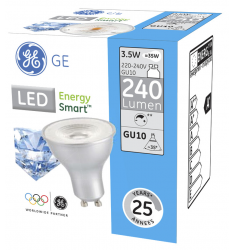 Bec LED General Electric Energy Smart™ spot, 3.5W, GU10, 240 lm, 25.000 ore, lumină caldă, dimabil