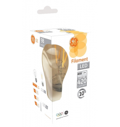 Bec LED General Electric clasic filament, 4W, E27, 420 lm, 10.000 ore, lumină caldă