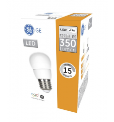 Bec LED General Electric sferic, 4.5W, E27, 350 lm, 15.000 ore, lumină caldă