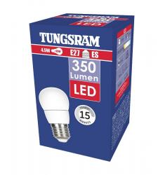 Bec LED Tungsram sferic, 4.5W, E27, 350 lm, 15.000 ore, lumină caldă